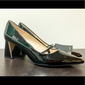 Zara Basic Black Pumps with Gold Detail Heel.